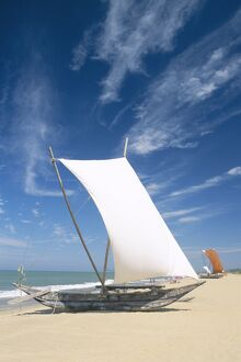 Negombo Beach / Traditional Outrigger Fishing Boats