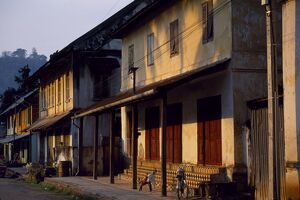 Old shuttered houses in the main street