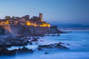 Old town and sea wall in Antibes, Alpes-Maritimes, Provence-Alpes-Cote D'Azur