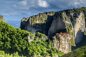 new april 2019 b/orthodox monastery rock boulders meteora near