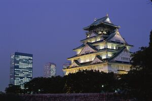 Osaka Castle & City Skyline / Night View, Osaka, Honshu, Japan