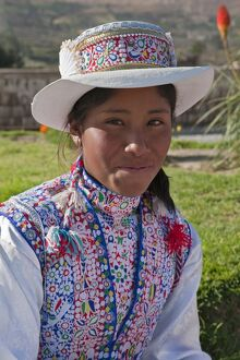 Peru, A Collaya women in traditional dress at the main square of Yanque