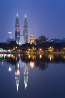 Petronas Twin Towers and lake