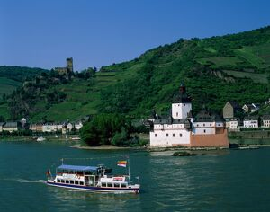 Pfalz Castle & Rhine River, Kaub, Rhineland / Rhine Valley, Germany