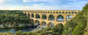 new july 2019/pont du gard roman aqueduct gard river late afternoon