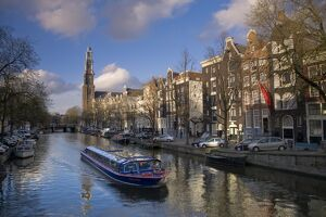 Prinsengracht and Westerkerk in the background, Amsterdam, Holland