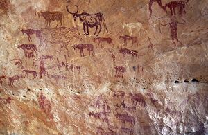 Rock painting depicting domestic cattle in the Jebel