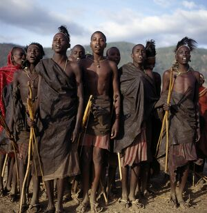 Samburu initiates sing during the month after their circumcision