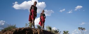 Two Samburu warriors resplendent with long Ochred braids