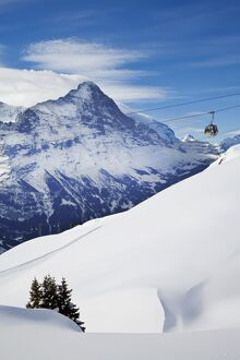 Ski Gondola lift & North face of the Eiger, Grindelwald, Jungfrau region