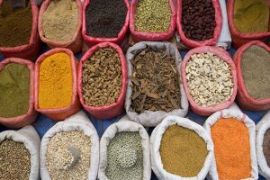 Spices and pulses in market, Manakha, Sana'a Province, Yemen