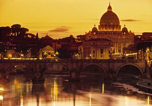 St Peter's Basilica & Ponte Saint Angelo, Rome, Italy