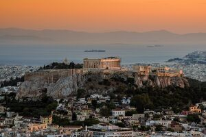 Sunset top view over Acropolis, Athens, Attica, Greece