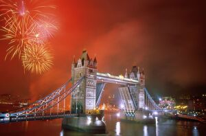 Tower Bridge & Fireworks, London, England