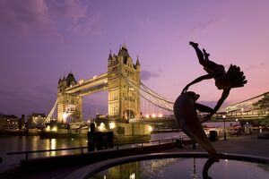 Tower Bridge and 'Girl with a Dolphin' fountain