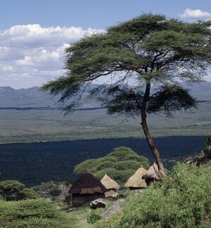 Traditional Marakwet houses built on the rocky eastern