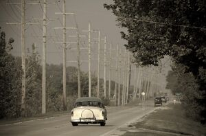 USA, Illinois, Route 66 at Godley, 1950's car