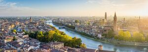 Verona, Veneto, Italy. High angle panoramic view of the old town and the Adige river