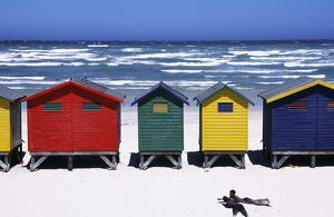 Victorian-style bathing boxes on the beach