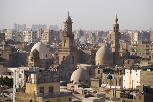 View across the rooftops of Islamic Cairo, Egypt