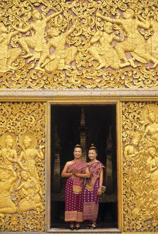 Two Woman at temple doorway