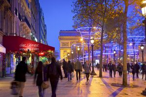 Xmas Decorations On Avenue des Champs-Elysees With Arc De Triomphe In Background