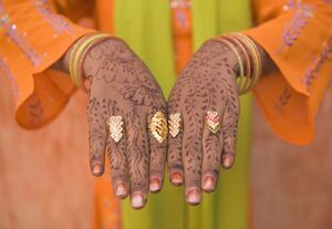 Young Indian Girl with Hennaed Hands, Jaipur, Rajasthan, India