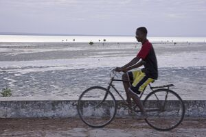A young man cycling along the sea wall on Ibo Island