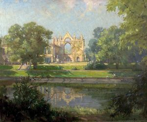 Newstead Abbey from the East, Nottinghamshire (Eagle Pond, Newstead Abbey)- Arthur Spooner