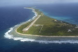 Aerial view of Rongelap Island, Marshall Islands, Micronesia