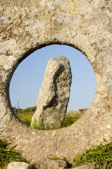 The famous Men an Tol stone near St Just in Cornwall, UK
