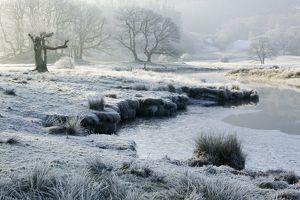Frost at dawn on the River Brathay near Ambleside UK