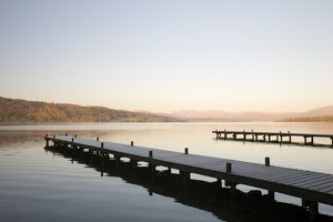 Frost on jetties on Lake Windermere in the Lake District UK