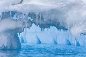 Iceberg detail in and around the Antarctic Peninsula during the summer months