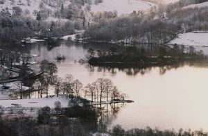Rydal water and snow in the Lake District UK