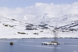 Snowfall over the Lake District Kentmere fells UK