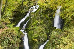 Stock Ghyll waterfall and surrounding woodland in autumn colours in Ambleside Lake