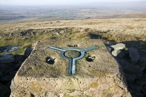 Trig point on Wild Boar Fell in the north Pennines UK