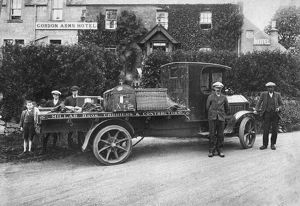 Motor lorry of Millar Brothers Carriers and Contractors, Gordon Arms Hotel