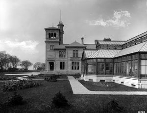 View of the entrance front and conservatory at Seafield House, Ayr. Date: 1890