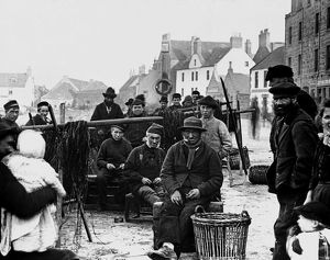 View of fishermen in Stonehaven, Kincardineshire. Date: c1890