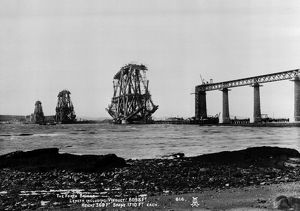 View of the Forth Bridge under construction. Date: 1887