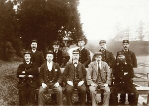 View of group of station workers, likely at Stanley Junction Station, Perthshire Date