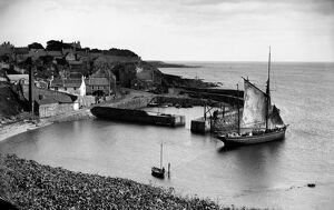 View of the harbour in Crail, Fife. Date: c1890