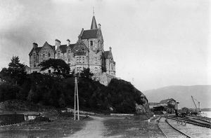 View of Loch Awe Hotel, Argyll, with the railway adjacent. Date: c1890