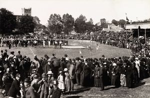 View of people gathered for Jedburgh games, including five entrants in the 1