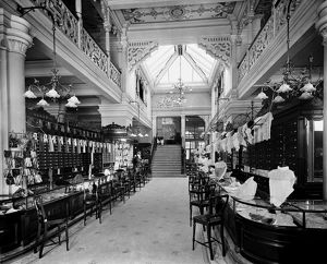 View of the sales floor for gloves and laces in Jenner's Department Store