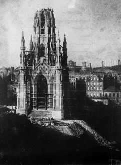 View of the Scott Monument, Edinburgh, under construction. Date: c1845