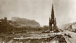 View of the Scott Monument, Edinburgh, and Princes Street with Edinburgh Castle