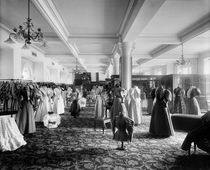 View of the women's fashion department in Jenner's Department Store